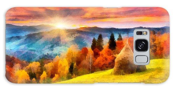 Field Of Autumn Haze Painting Galaxy Case