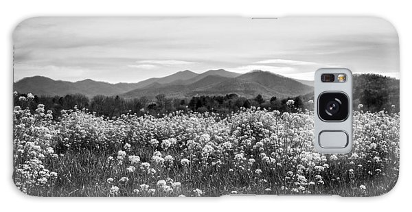 Field Of Flowers In Black And White Galaxy Case