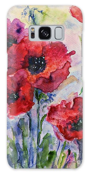 Field Of Red Poppies Watercolor Galaxy Case