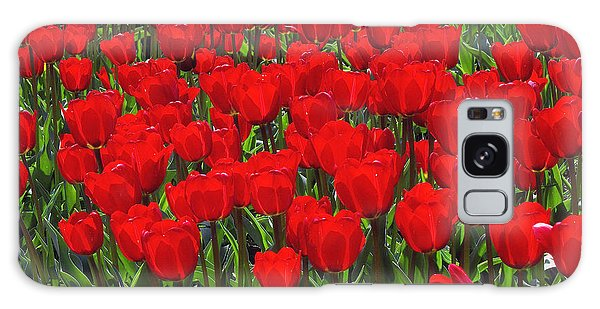 Field Of Red Tulips Galaxy Case