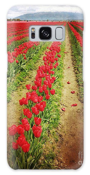Field Of Red Tulips With Drama Galaxy Case