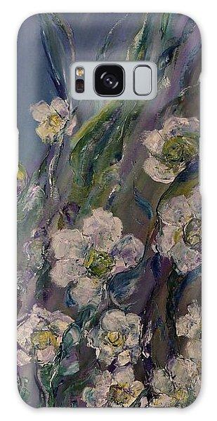 Fields Of White Flowers Galaxy Case by AmaS Art