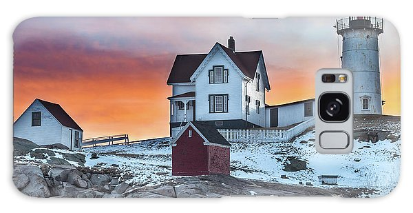 Fiery Sunrise At Cape Neddick Lighthouse Galaxy Case