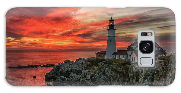Fiery Sunrise At Portland Head Light Galaxy Case
