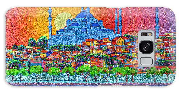 Fiery Sunset Over Blue Mosque Hagia Sophia In Istanbul Turkey Galaxy Case