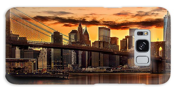 Beautiful Sunrise Galaxy Case - Fiery Sunset Over Manhattan  by Az Jackson