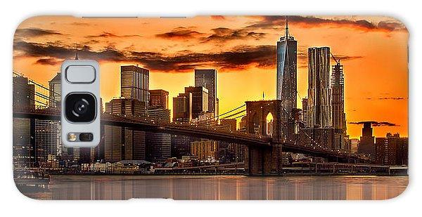 Fiery Sunset Over Manhattan  Galaxy Case by Az Jackson