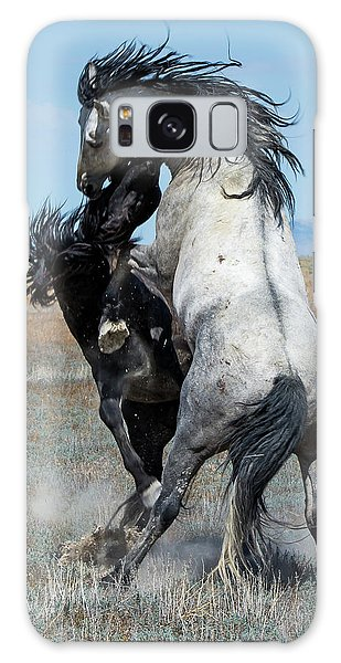 Fighting Black And Gray Stallions Galaxy Case by Mary Hone