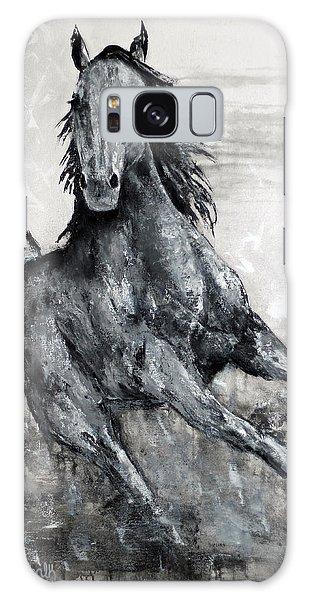 Contemporary Black And White Horse Painting, Fin Galaxy Case by Jennifer Godshalk