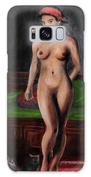 Fine Art Female Nude Standing With Cats Galaxy Case