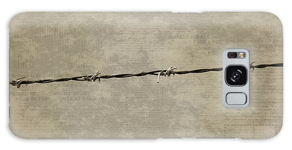 Fine Art Photograph Barbed Wire Over Vintage News Print Breaking Out  Galaxy Case