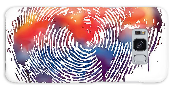 Finger Print Map Of The World Galaxy Case