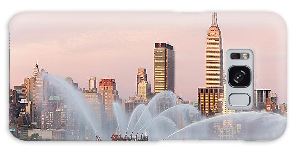 Fire Boat And Manhattan Skyline I Galaxy Case by Clarence Holmes