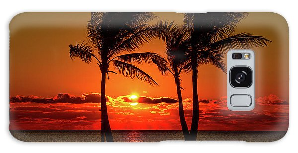 Fire Sunset Through Palms Galaxy Case