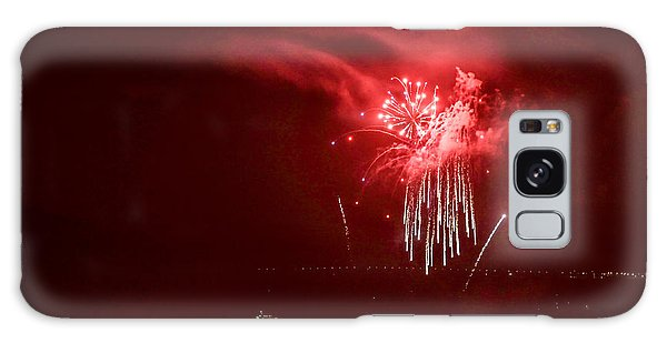 Fireworks In Red And White Galaxy Case