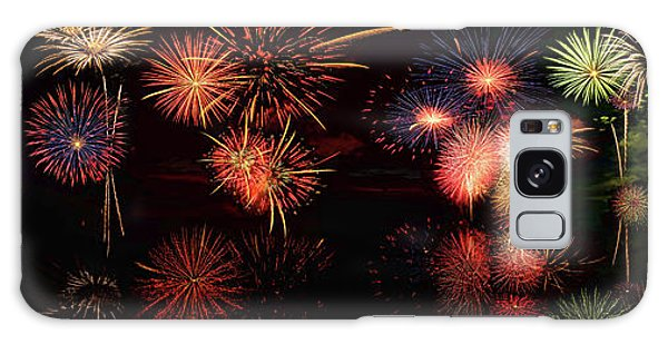 Fireworks Reflection In Water Panorama Galaxy Case