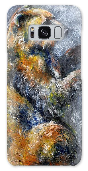 First Snow Contemporary Colorful Bear Painting Galaxy Case