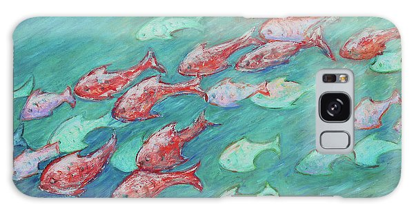 Galaxy Case featuring the painting Fish In Abundance by Xueling Zou