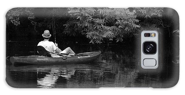 Fisherman On Lady Bird Lake - Bw Galaxy Case
