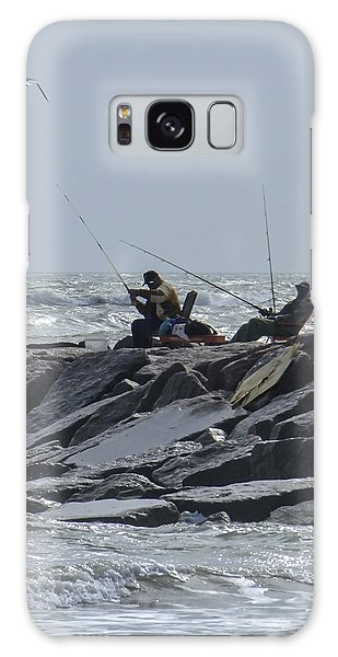 Fishermen With Seagull Galaxy Case by Allen Sheffield