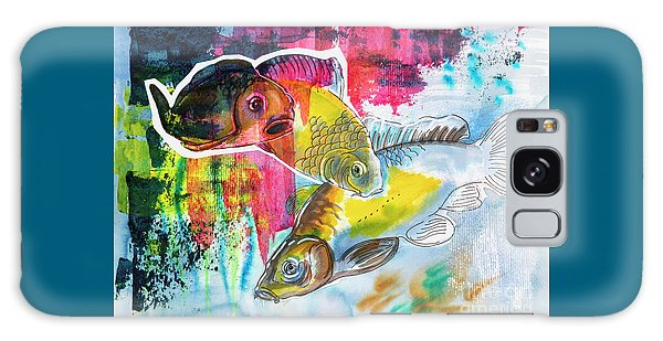 Fishes In Water, Original Painting Galaxy Case