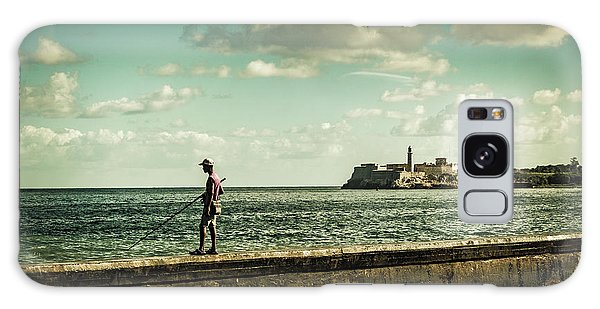 Galaxy Case featuring the photograph Fishing Along The Malecon by Lou Novick