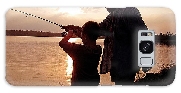 Galaxy Case - Fishing At Sunset Grandfather And Grandson by A Gurmankin