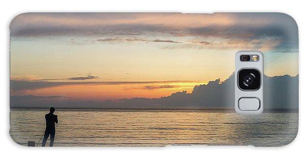 Fishing At Sunset Galaxy Case