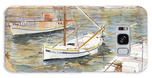 Galaxy Case featuring the painting Fishing Boats In Skopelos by David Gilmore