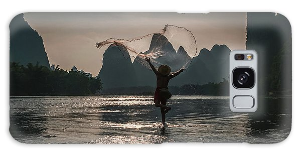 Fisherman Casting A Net. Galaxy Case