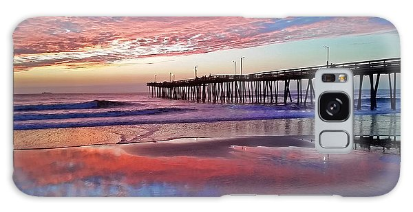 Fishing Pier Sunrise Galaxy Case by Suzanne Stout