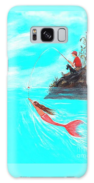 Galaxy Case featuring the painting Fishing Surprise by Leslie Allen