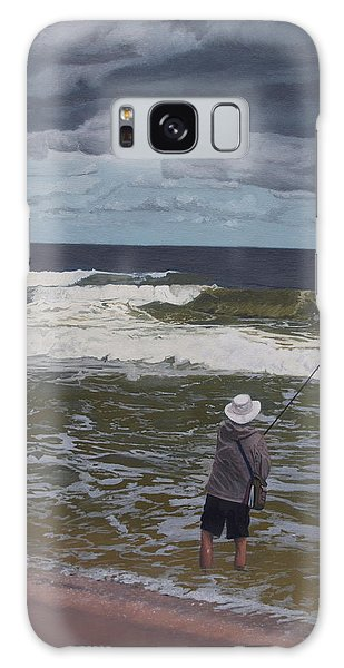 Fishing The Surf In Lavallette, New Jersey Galaxy Case by Barbara Barber