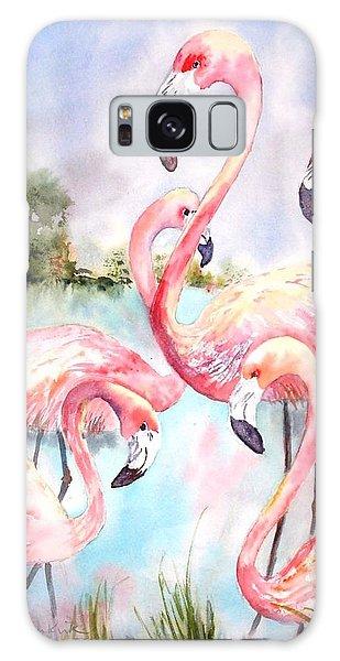 Five Flamingos Galaxy Case