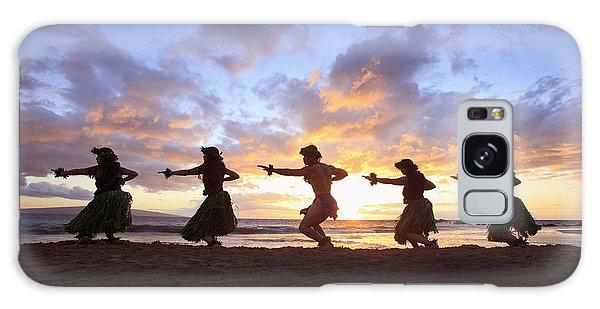 Five Hula Dancers At Sunset At The Beach At Palauea Galaxy Case