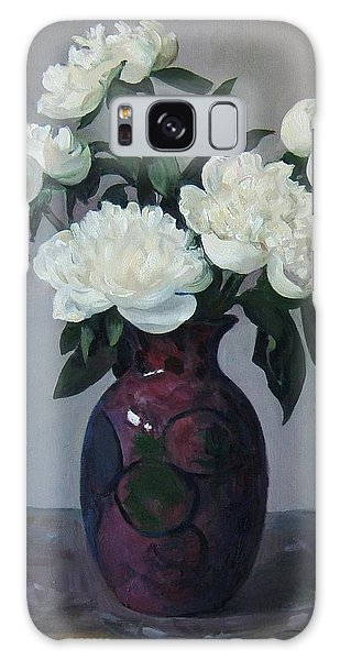 Five White Peonies In Purple Vase Galaxy Case