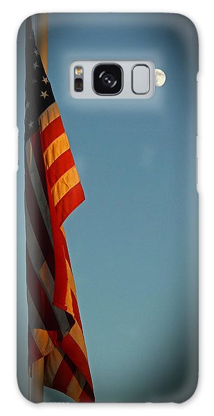 Flag And The Moon Galaxy Case by Charles Ables