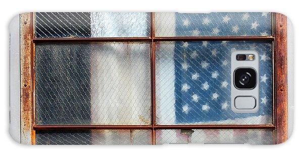 Flag In Old Window Galaxy Case