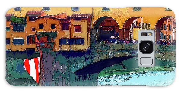 Flags At Ponte Vecchio Bridge Galaxy Case