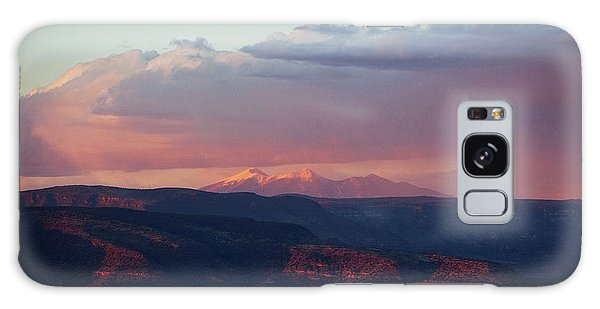 Galaxy Case featuring the photograph Flagstaff's San Francisco Peaks Snowy Sunset by Ron Chilston