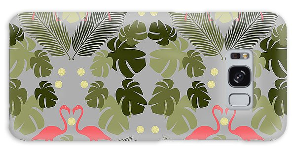 Repeat Galaxy Case - Flamingo And Palms by Claire Huntley