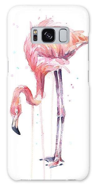 Flamingo Illustration Watercolor - Facing Left Galaxy Case