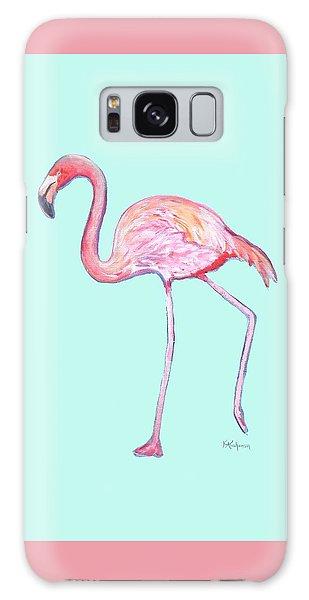 Flamingo On Mint Background Galaxy Case