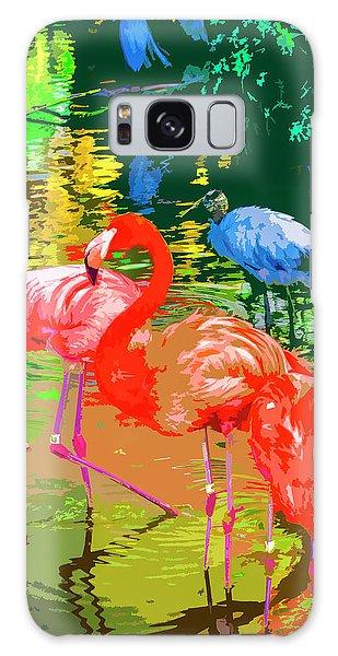 Flamingo Time Galaxy Case by Josy Cue