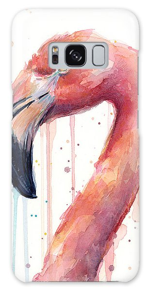 Flamingo Watercolor Illustration Galaxy Case