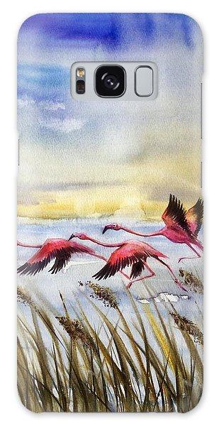 Flamingoes Flight Galaxy Case