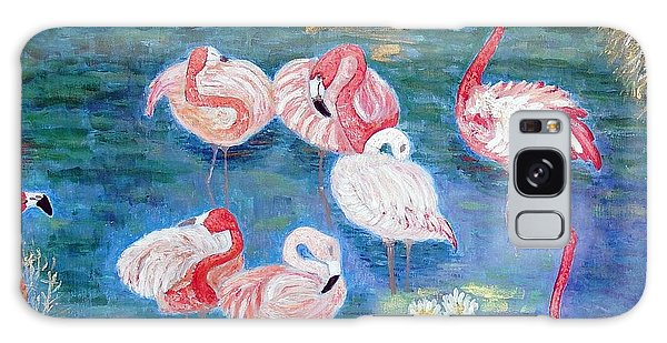 Flamingos Diptich Right Galaxy Case by Vicky Tarcau