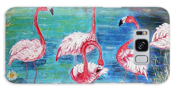 Flamingos Diptich Left Galaxy Case