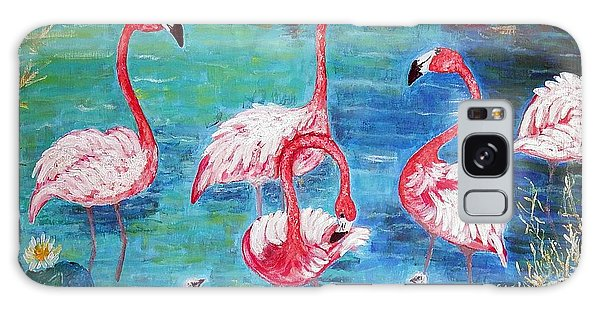 Flamingos Diptich Left Galaxy Case by Vicky Tarcau