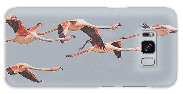 Flamingos In Flight Galaxy Case